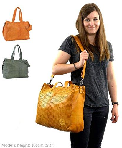 """Gusti Cuir studio """"Sunny L"""" cabas en cuir sac bandoulière en cuir sac à main en cuir homme femme cuir de chèvre jaune 2H49-29-4"""