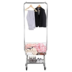 go2buy Standard Commerical Laundry Bulter Rolling Laundry Cart with Hanging Bar, Silver