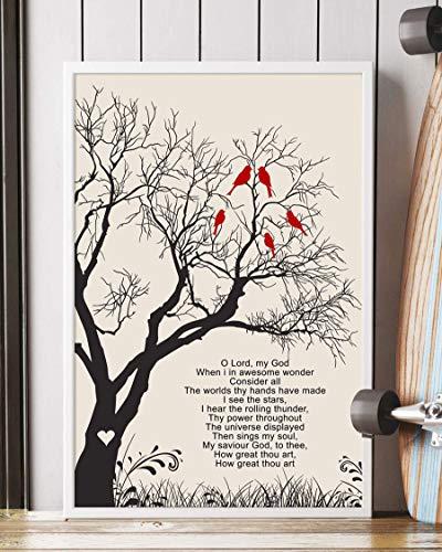 Trendora Decor How Great Thou Art Song Lyrics Portrait Poster Print (12