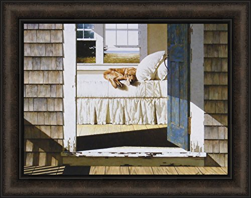 Home Again by Zhen-Huan Lu 19x24 Golden Retriever Sleeping On Bed Dog Bedroom Rustic Doorway Framed Art Print Picture