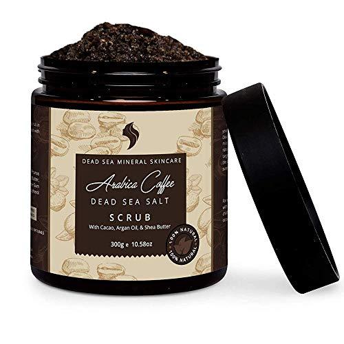 100% Natural Arabica Coffee Scrub with - Dead Sea Salt, Coconut Oil & Shea Butter - Organic Facial & Body Scrub Exfoliator & Best for Acne, Cellulite, Stretch Marks, Eczema & Varicose Veins (10.58 OZ) (Sea Salt And Coconut Oil Face Scrub)