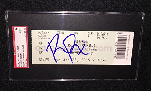 Roman Reigns Signed 2015 Wwe Royal Rumble Winner Ticket Sgc Authenticated - Baseball Slabbed Autographed Cards