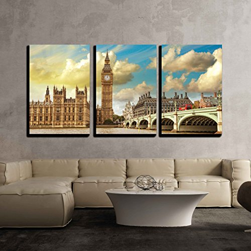 wall26 - 3 Piece Canvas Wall Art - London. Beautiful View of Westminster Bridge and Houses of Parliament with Thames River - Modern Home Decor Stretched and Framed Ready to Hang - 16