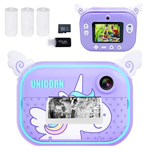 Instant Print Camera for Kids, Girls Boys Zero Ink Print Photo Selfie Video Digital Camera with Paper Film, 3-12 Years…
