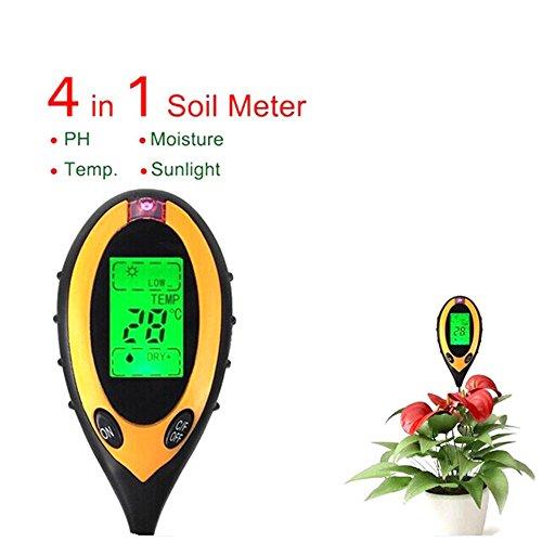 4 in 1 Soil Moisture Tester Soil Meter Digital LCD Temperature Moisture Sunlight PH Humidity Analyzer for Indoor Outdoor Garden Farm Lawn Plants Grain Flowers Grass Care