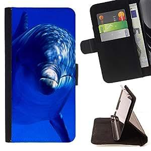 - Dolphins sea - - Monedero PU titular de la tarjeta de cr?dito de cuero cubierta de la caja de la bolsa FOR Apple Iphone 5C Retro Candy