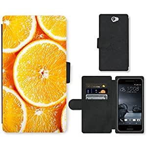 PU Cuir Flip Etui Portefeuille Coque Case Cover véritable Leather Housse Couvrir Couverture Fermeture Magnetique Silicone Support Carte Slots Protection Shell // V00002434 naranjas en rodajas // HTC One A9 (Not Fit M9)