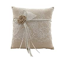 AZDRESS Vintage Rustic Burlap Lace Wedding Ring Pillow 8 inch x 8 inch brown