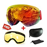 Ski Goggles, Anti-fog UV Protection Winter Snow Sports Snowboard Goggles with Interchangeable Spherical