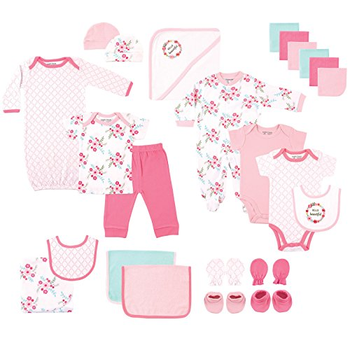 Luvable Friends Baby 24 Piece Gift Cube Set, Floral, 0-6 Months (Friends 6 Piece)