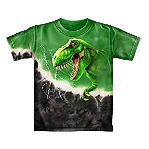 T-Rex Green Tie-Dye Youth Tee Shirt (Kids Medium)