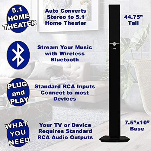 Acoustic Audio AAT1003 Bluetooth Tower 5.1 Home Theater Speaker System with 8″ Powered Subwoofer 511v T5K90L