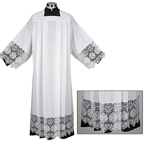 Liturgical Church Garment Polyester and IHS Lace Box Pleated Alb (Medium - Back: 54'' L / Sleeve: 28'' / Fit Height: 5'9'' - 5'11'') by Trinity