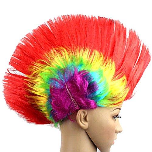 Halloween Masquerade Ball Party Punk Mohawk Mohican Cockscomb Hair Wig Costume Headdress Supplies -