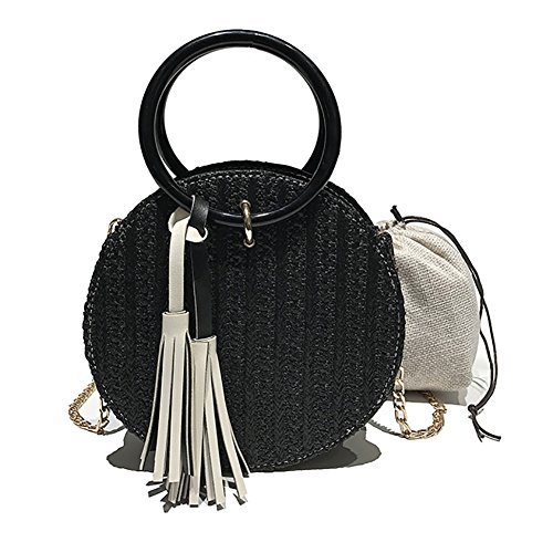 Veenajo Womens Round Straw Handbags Clutch Purses Crossbody Summer Beach Tote Bag Satchel (Tote Black Straw Handbags)