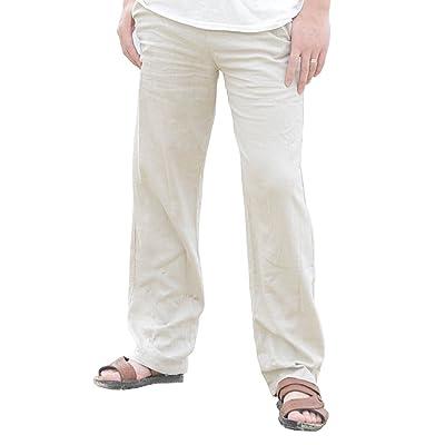 UUYUK Men Elastic Waist Drawstring Pockets Plain Straight Leg Basic Long Pants
