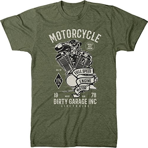 Standard Yamaha Engine (Trunk Candy Motorcycle Full Speed Engine Men's Modern Fit T-Shirt (Military Green, Large))