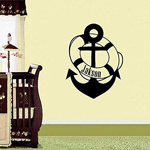 Profit Decal Custom Personalized Name Children Gift Anchor Marine Nautical Murals Nursery Boy Name Wall Decals Mural Decor Vinyl Z3179