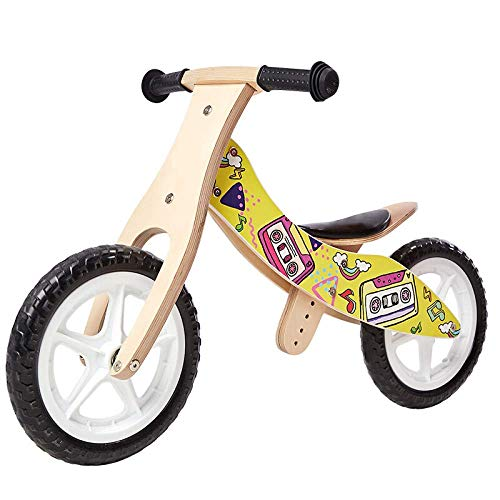 ZLMI Children's Balance car,Wooden no Pedal Balance Bike Baby with Pedal Tricycle Safe and Comfortable 2-6 Toddler Girls Boys Baby Puzzle Stroller,Yellow