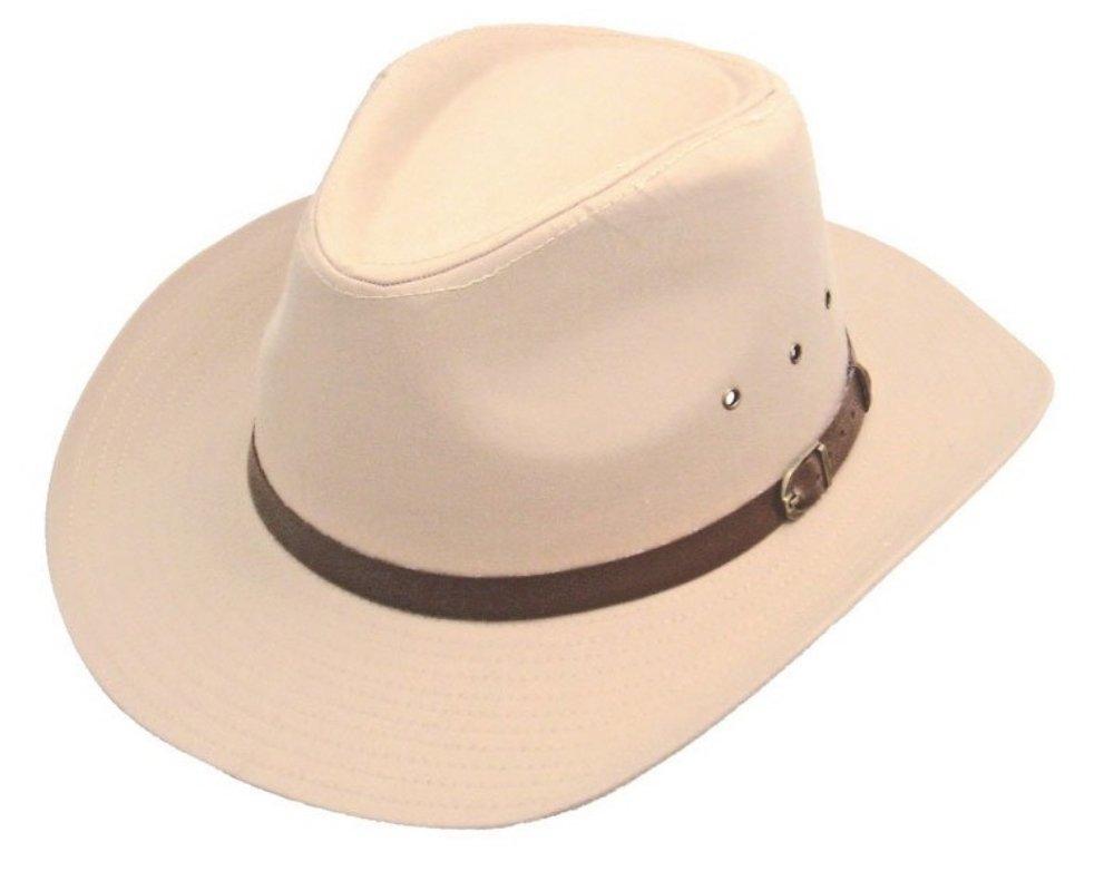 Wrapeezy Black 100% Cotton Wide Brim Mens Cowboy Hat Womens Large Medium Small Western Fedora Beige)