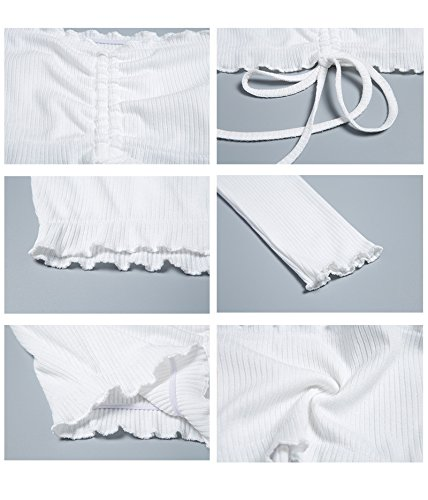 Famulily Women's Sexy Off Shoulder Frill Drawstring Knit Long Sleeve Crop Tops Tube(White,Small) by Famulily (Image #5)