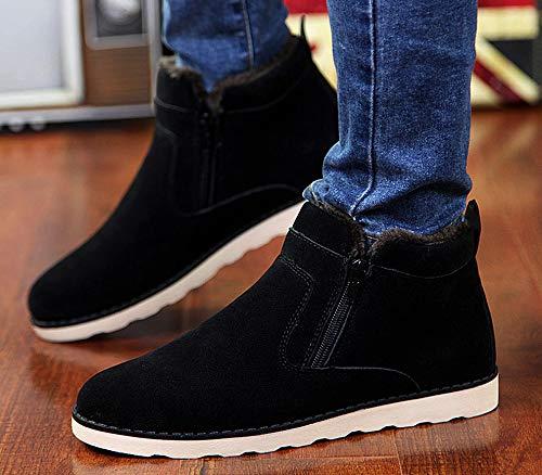 Bottines Bottes Plein Noir Air En Femme Fourrure Chaussures Doublure De Daim Neige Coton Épais Chaud Lovejin Homme SqfxEC