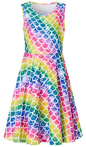 (Little Girls Rainbow Frocks 6 7 8 Years Old Floral Printed Navy Blue Mint Green Plum Fish Scales Twirly Sleeveless Lace Princess Cami Dresses for Small Kids in Dance Ball)