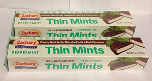 2-pack Thin Mints - Dark Chocolate Covered Peppermint Candy - American Made Candies By Zachary (Chocolate Covered Mint)
