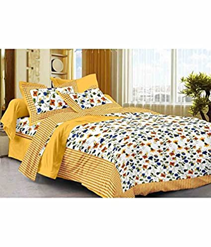 Bombay Spreads Cotton Full Size Double Bed Sheet Set With 2 Pillow Covers,  90x108