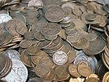 Half Pound Coin Collection- Walking Liberty Half Dollar, Mercury Dime, Buffalo Nickel, Silver War Nickel, Indian Head Penny, Silver Washington Quarter, Silver Roosevelt Dime, Steel Penny, 1 Roll of Wheat Pennies, 2 Silver Certificates