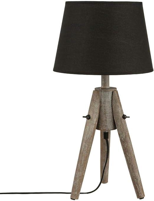 Atmosphera Lámpara de mesa - Trípode de madera efecto decapado y ...