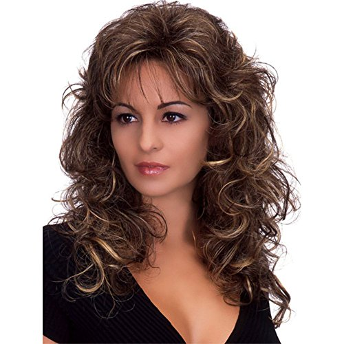 Womens Curly Hair Wig,Long Water Wave False Hair,Hair Replacement Wigs with bangs,Heat Resistant,Natural Cosplay Daily Party Salon Hairpiece -