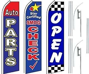 Auto Shop Services Super bandera 3 unidades & Poles-Auto Parts-Smog Check-Open