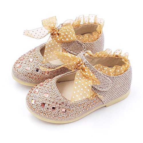 Comfy Kids Shoes Baby Girls Princess Shoes Dancing Shoes A201 (5.5, Gold)
