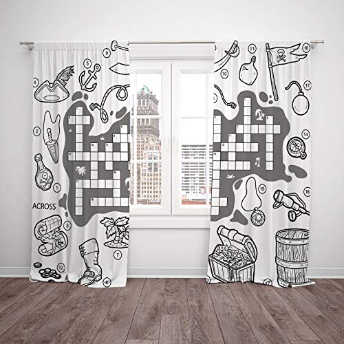 2 Panel Set Satin Window Drapes Kitchen Curtains,Word Search Puzzle Colorless Pirates Themed Educational Puzzle Treasure Map and Icons Grey Black White,for Bedroom Living Room Dorm Kitchen -