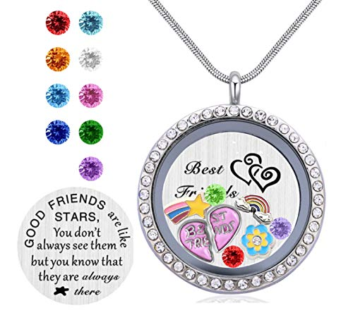 Beffy Friendship Love Gift, Best Friends Pendant Necklace, Floating Living Memory Locket with Birthstone Charm