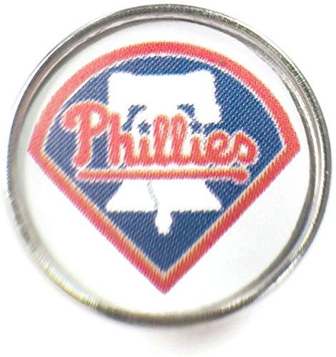 Charm Phillies Baseball Philadelphia (Fashion Snap Jewelry MLB Logo Philadelphia Phillies 18MM - 20MM Jewlery Snap Charm)