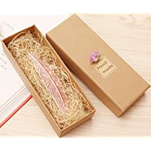 eMosQ Classic Metal Brass Creative Handmade Feathers Bookmark Beautifully Gift Boxed (Rose gold)