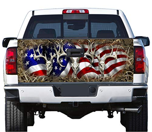 Truck Tailgate Wrap Decal Deer Skull Flag Grass Camo 3m Cast 10 Yr Vinyl Laminated ()