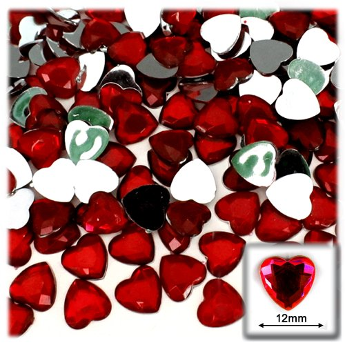 (The Crafts Outlet 144-Piece Flat Back Heart Rhinestones, 12mm, Devil Red Wine)