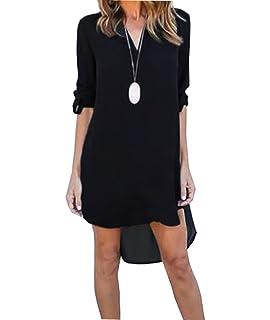 043b4562196 Femme Asymétrique Chemise Robe Casuel T-Shirt Top Longue en Mousseline de  Soie