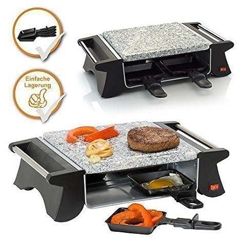 Raclette y piedra grill, aparato combinado para 2-4 personas, ideal para camping