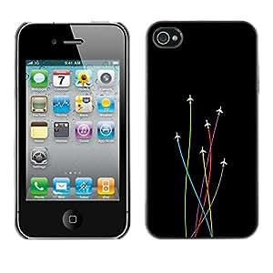 EJOY---Cubierta de la caja de protección la piel dura para el / iPhone 4 / 4S / --Avión Colores
