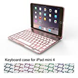 Addprime iPad Mini 4 Wireless Keyboard Case with Colorful Backlit 135 Degree Adjustable Angles Rose Gold Aluminum Alloy Shell and Back Plate Chocolate ABS Button BT Keyboard for iPad A1538/A1550