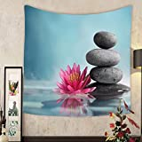 Madeleine Ellis Custom tapestry spa still life with water lily and zen stone in a serenity pool