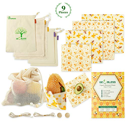 (Geobless Beeswax Wraps and Reusable Produce Bags (8-Pc. Bundle) Eco-Friendly, Sustainable Food Storage | Home, Refrigerator, Kitchen | Small, Medium, Large)