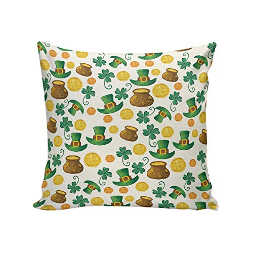 ArneCase St. Patrick's Day Decorative Linen Square Throw Pillow Covers 20x20inch Cushion Case for Sofa Bedroom Car, Two Sides - Green Hat Leprechaun Lucky Shamrock Pot Gold Coin