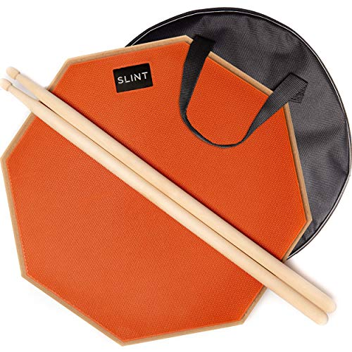Practice Pad Bundle 12 inches - Drum Pad Double Sided with Drumsticks and Carry Bag With Two Different Surfaces for Snare Drum Practice - Silent Drum Double Sided Practice Pad