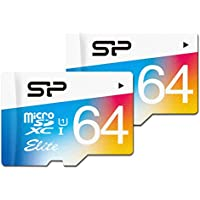 Silicon Power 64GB x 2 PACK MicroSDXC UHS-1 Memory Card, with Adapter (SP064GBSTXBU1V20AM)