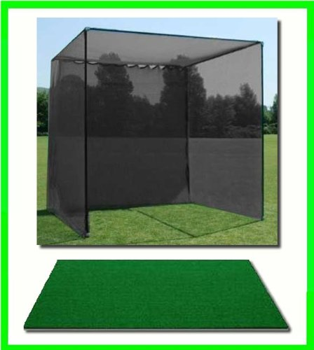 Golf Mat, Golf Net Cage, 10'x10'x10 Golf Net Golf Cage and 3'x5' Residential Golf Mat. Our Dura-Pro 10'(d) x 10'(h) x10'(w) Golf Cage Golf Net Comes With High Velocity Strong Impact Golf Netting and a High Impact Double Back Stop and Target Plus a 3' X 5'